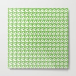 3D Optical Illusion: Green Dodecahedron Pattern Metal Print