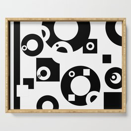 Black& White Rings Rectangle Serving Tray