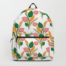 Cute Hand Paint Green Foliage Pink Design Backpack