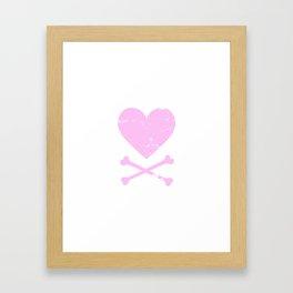 Heart and Crossbones - Pink Framed Art Print