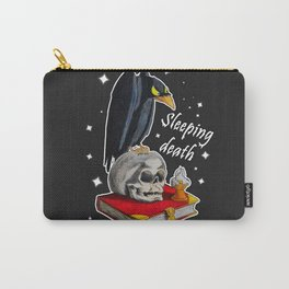 Gothic  Black raven with skull Carry-All Pouch