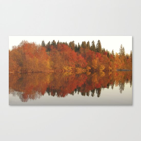 Colorful autumn trees reflection in the lake Canvas Print