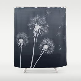 Black and White Wishing upon a Dandelion Shower Curtain