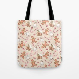 Gingerbread & Peppermint Repeat Pattern -Holiday Pattern Tote Bag