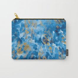Watercolor Prussian blue and gold pattern Carry-All Pouch