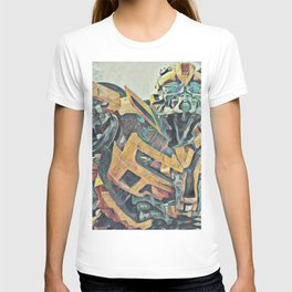 Bumblebee Surprised Artistic Illustration Colored Pencils Lines Style T-shirt