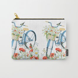 Blue bike & red poppy Carry-All Pouch