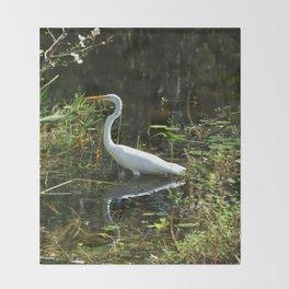 White Egret Throw Blanket