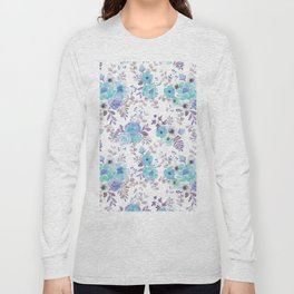 Lilac teal blue hand painted watercolor floral Long Sleeve T-shirt