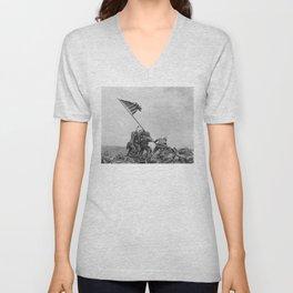 American Troops raising American flag on Mount Suribachi, Iwo Jima, 23 February 1945 Unisex V-Neck