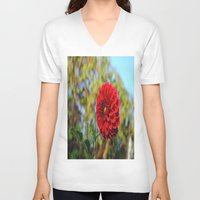 dahlia V-neck T-shirts featuring Dahlia by Renee Trudell