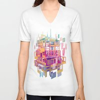 building V-neck T-shirts featuring Building Clouds by FalcaoLucas