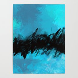 Azure Blue Abstract with Black Inky Middle Poster
