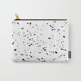 Paint Spatter Black on White Carry-All Pouch