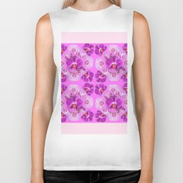 Pink Color Abstracted Modern Purple Moth Orchids Biker Tank