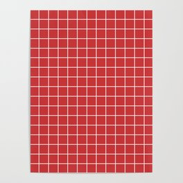 Madder Lake - red color -  White Lines Grid Pattern Poster