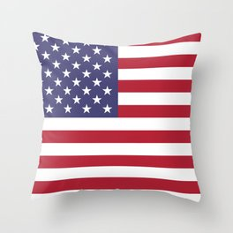 USA flag - Hi Def Authentic color & scale image Throw Pillow