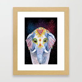 Indian Holi Elephant Watercolor and Acrylic Painting Framed Art Print