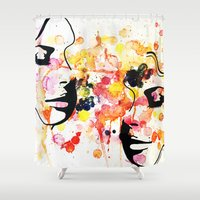 her art Shower Curtains featuring #her by Yazmeen Collazo