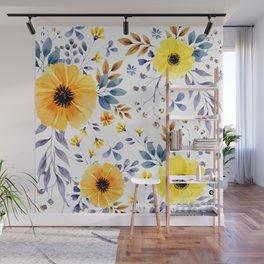 Yellow watercolor flowers Wall Mural