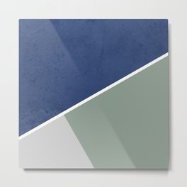 Navy Sage Gray Geometric Metal Print