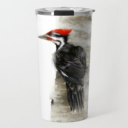 Pileated Woodpecker Watercolor Travel Mug