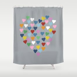 Hearts Heart Multi Grey Shower Curtain