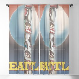 Seattle Totem pole travel poster Sheer Curtain