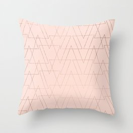 modern rose gold geometric thin triangles blush pink abstract pattern Throw Pillow