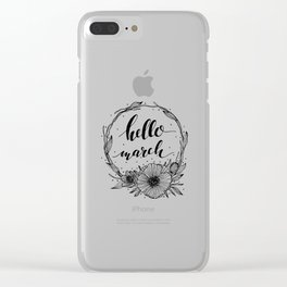 Hello March Line Art Clear iPhone Case