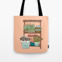 Mei's Farm Stand on Salmon Pink Tote Bag