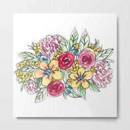 Peachy Watercolor Bouquet Metal Print