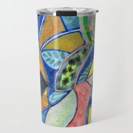 Tropical Shapes Cocktail with Leaves Travel Mug