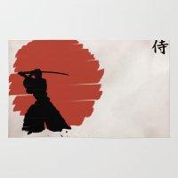 samurai Area & Throw Rugs featuring Samurai by Purple Cactus