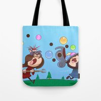 animal crossing Tote Bags featuring Animal Crossing Grumps by Steven Ray Brown