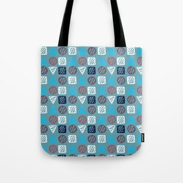 Modern abstract hand painted blue white geometrical pattern Tote Bag