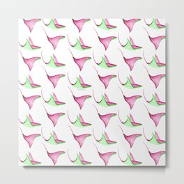 Stingrays Pattern in Watercolor | Plum and Grass green Palette Metal Print