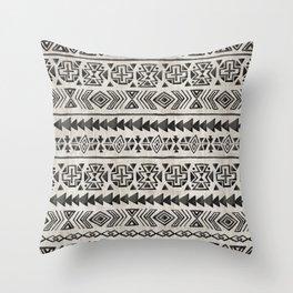 Boho Tribal Black & Cream, Geometric Print, Ink Tribal Decor Throw Pillow