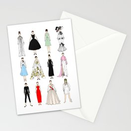 Outfits of Audrey Hepburn Fashion (White) Stationery Cards