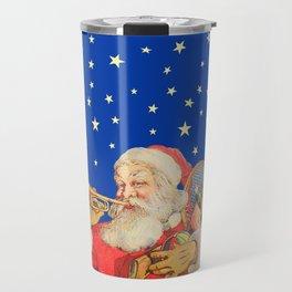 Santa Claus & Christmas Stars on the Night Sky Travel Mug