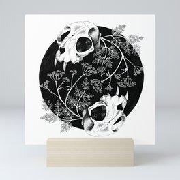 Cat skulls and hemlock Mini Art Print