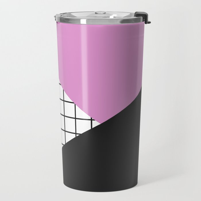 Geometry: black, pink and squres Travel Mug