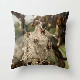 Bushes with starseeds surrounded with white aura Throw Pillow