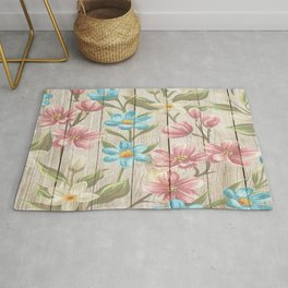 Faux Wood Country Floral Rug