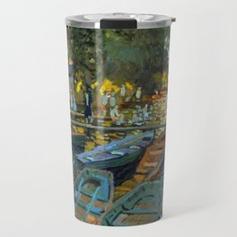 Bathers at La Grenouillere by Claude Monet in 1869 Travel Mug