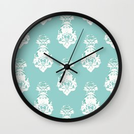 Seamless vintage pattern, white on green Wall Clock