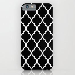 Classic Quatrefoil Lattice Pattern 221 Black and White iPhone Case