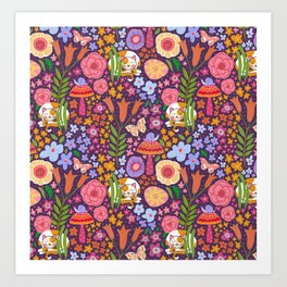 Calico Cat Garden Art Print