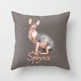 Sphynx watercolour Cat Throw Pillow