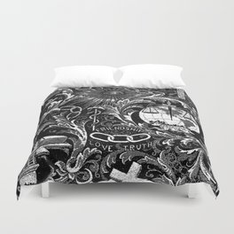 Black and White Woven IOOF Symbolism Tapestry Duvet Cover
